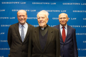 Georgetown Law Dean William M. Treanor, Visiting Professor Ladislas Orsy, S.J., and Professor David Luban at a January 24 conference celebrating the 96-year-old Orsy's life and work.