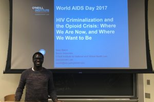Sean Bland, an associate at the O'Neill Institute for National and Global Health Law, gives a presentation on HIV Criminalization and the Opioid Crisis on November 30.