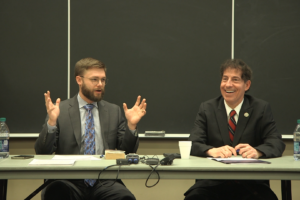 Trent England and Rep. Jamie Raskin debate the merits of the electoral college versus the popular vote in U.S. presidential elections at a panel discussion at Georgetown Law on January 24.