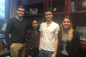 Students Ian Engdahl (L'18), Joyce Dela Pena (L'18), Jarrett Colby (L'18) and Caitlin Anderson (L'18) drafted a Fifth Circuit brief in Professor Brian Wolfman's Appellate Courts Immersion Clinic in Fall 2017.