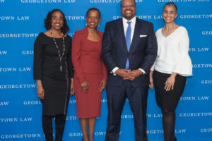 Georgetown Law Associate Dean Kristin Henning, American Law Professor Angela Davis, George Washington Law Associate Dean Roger Fairfax and University of Maryland Law Professor Renee Hutchins explore race and criminal justice at Georgetown Law on Feb. 12.