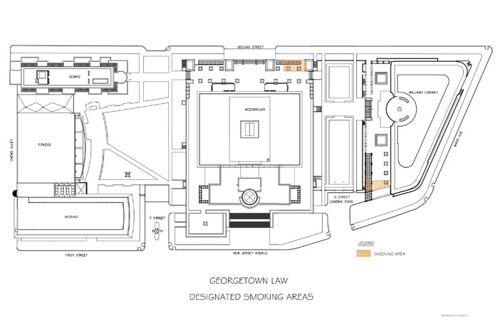 Map of designated campus smoking areas highlighting areas west-northwest of McDonough Hall and east-southeast of the Williams Library