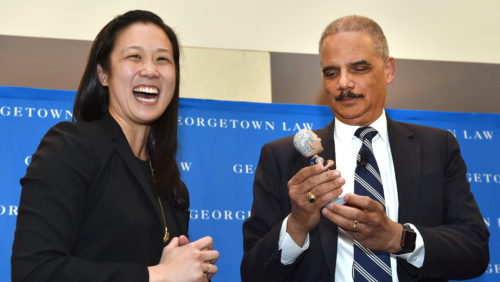 Special guest Eric Holder speaks at the Georgetown Law Journal Alumni Banquet  on Friday, March 23, 2018.
