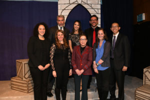 Supreme Court Justice Ruth Bader Ginsburg with members of Georgetown Law's Gilbert & Sullivan Society in Hart Auditorium after the inaugural Ruth Bader Ginsburg lecture on April 6.