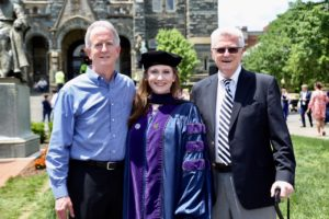 Georgetown Law alumni Charles M. Steele (L'84), Erin Steele (L'18) and Charles J. Steele (C'52, L'54, LL.M.'56) at Commencement 2018.