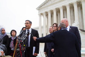 Georgetown Law Professor Neal Katyal faces the press on the steps of the Supreme Court after oral arguments in Trump v. Hawaii on April 25.