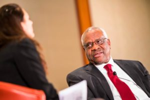 Supreme Court Justice Clarence Thomas at the 2018 Federalist Society National Student Symposium, hosted by the Georgetown Law chapter in March.