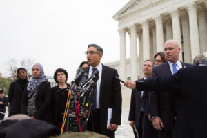 In this file photo from April, Georgetown Law Professor Neal Katyal faces the press on the steps of the Supreme Court after oral arguments in Trump v. Hawaii. The Court decided the case June 26.