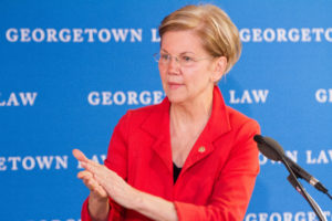 "Sen. Elizabeth Warren (D-Mass) delivers opening remarks at ""The War on Regulation: Good for Corporations, Bad for the Public"" in Gewirz Student Center on June 5. The conference was co-hosted by Georgetown Law and the Coalition for Sensible Safeguards."