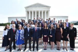 Keonna Carter (LL.M.'13)(second row, third from left) was one of 35 Georgetown Law alumni sworn into the Supreme Court Bar in June. Carter's journey to the law began as a sixth grader, when she was invited to the Supreme Court after winning an essay contest and met Cissy Marshall, widow of the late Justice Thurgood Marshall.