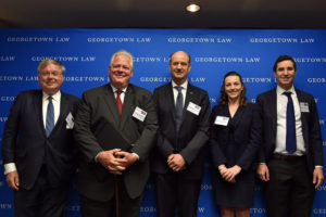 The G2 Conference on Resolving Disputes in International Economic Law at Georgetown Law on July 11 included attorney Philippe De Baere, IIEL Executive Director Grant Aldonas; EU Delegation Minister Counselor Damien Levie and Georgetown Law Professors Lilian Faulhaber and Itai Grinberg.