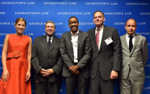 IIEL Faculty Director and Georgetown Law Professor Chris Brummer, center, appeared on a panel with Alexis Crow, David Dollar, Georgetown Law Associate Dean James Feinerman and Bart Oosterveld.
