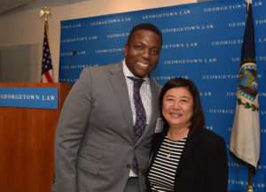 Patrick Campbell (C'92), a Georgetown University graduate and lawyer who participated in Street Law as a D.C. high school student, was reunited with his Georgetown Law Street Law teacher, Grace Kim (L'88), at the dinner.