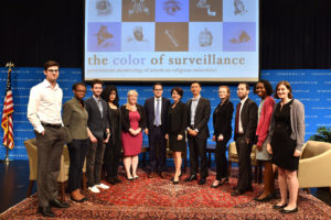 "Executive Director Alvaro Bedoya, Deputy Director Laura Moy (center) and other staff of Georgetown Law's Center on Privacy & Technology at the 2018 ""Color of Surveillance"" conference on July 19 examining the government monitoring of American religious minorities."