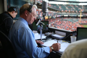 Sports broadcasting legend Gary Thorne (LL.M.'76) is in the 12th season of providing play-by-play for the Baltimore Orioles on the Mid-Atlantic Sports Network. Photo Courtesy of the Baltimore Orioles.