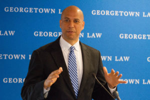 Senator Cory Booker (D.-N.J.) discusses health care as a human right at a conference on access to affordable medicines at Georgetown Law on June 28.