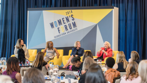 At the 25th anniversary of Women's Forum on Friday, May 4, 2018, Jane Aiken, Rosemary Kilkenny, Judy Areen, and Ambassador Melanne Verveer discuss the past, present, and future of gender equity at Georgetown.