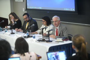 More than 90 refugee and migration judges from approximately 30 countries gathered at Georgetown Law August 1-5. Professor from Practice Andrew Schoenholtz (right) spoke on a panel on building resilient asylum systems.