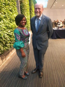Abigail Suwu-Kaindoh (LL.M.'19), a government attorney from Sierra Leone, took a picture with Dean William M. Treanor during Orientation Week 2018.