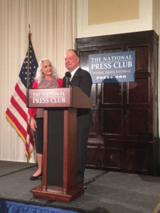 Debra Tice, the mother of missing journalist Austin Tice, with Georgetown University President John J. DeGioia at a reception at the National Press Club on August 14, six years to the day after Tice disappeared in Syria.