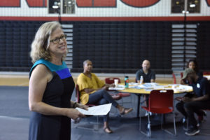 Georgetown Climate Center Executive Director Vicki Arroyo (L'94) addresses community leaders and residents of Washington, D.C.,'s Ward 7 at a forum on September 8.