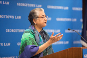 "Hina Jilani, the former UN Special Representative on Human Rights Defenders, delivered the Drinan Lecture on ""Human Rights and the Rule of Law in Times of Crisis"" at Georgetown Law on October 3."