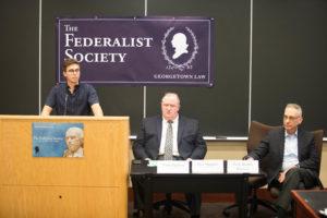 Federalist Society co-president Peter McGinley (L'19), Tom Jipping and Professor Randy Barnett.