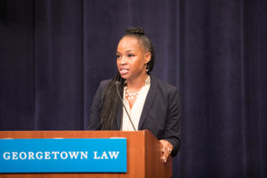 "Professor Jamillah Bowman Williams speaks at ""Taking Women, Survivors, & Government Institutions Seriously: An Open Dialogue for the Community in the Aftermath of the Confirmation Hearings"" at Georgetown Law on October 10."
