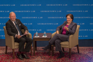 Supreme Court Justice Elena Kagan, shown here with American Bar Association President Bob Carlson, appeared at Georgetown Law on October 24 as part of the ABA's 10th Annual Celebration of Pro Bono. (Photo courtesy American Bar Association, Media Relations.)