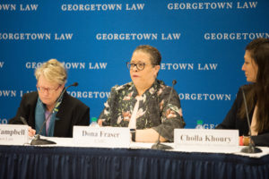 Professor Angela Campbell, Dona Fraser of CARU and Cholla Khoury of the New Mexico Office of the Attorney General.