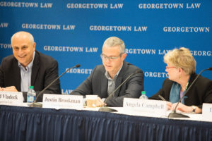 "Professor David Vladeck, Justin Brookman of Consumers Union and Professor Angela Campbell at ""COPPA at 20: Protecting Children's Privacy in the New Digital Era"" at Georgetown Law October 24."