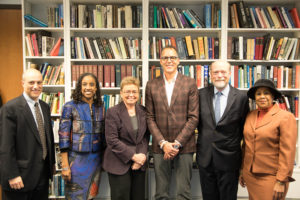 Associate Dean John Mikhail, Associate Dean Kristin Henning, Sharon Pratt, James Forman Jr., Dean William M. Treanor, Jonetta Rose Barras.