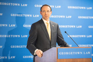"Deputy Attorney General Rod J. Rosenstein delivers the luncheon keynote at ""Cybercrime 2020: Revisiting the Future of Online Crime and Investigations"" at Georgetown Law on November 29."