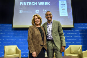 "Professor Chris Brummer with Sheila Bair, former chair of the FDIC, at the start of IIEL's ""Fintech Week"" on November 5."