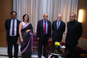 Vibha Datta Makhija (LL.M.'92) — the youngest and the third woman to be designated as a Senior Advocate by the Supreme Court of India — and a delegation from Georgetown Law including Dean William M. Treanor met with senior members of the judicial and legal community in India in December. From left: Vivek Sharma; Makhija; Honorable Mr. Justice Deepak Gupta, Supreme Court of India; Treanor; Mr. Arun Jaitley, Honorable Minister of Finance.