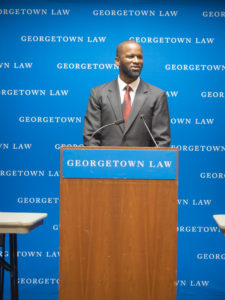 Tyrone Pinkins speaking at Georgetown Law