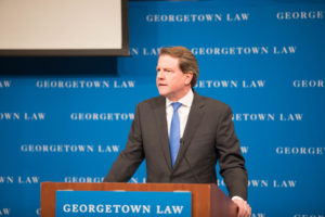 Former White House counsel Don McGahn delivered opening remarks at the January 17 American Bankruptcy Institute (ABI) conference on health care, hosted by Georgetown Law CLE.
