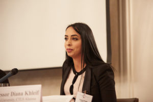 Diana Khleif (LL.M.'14), who now teaches at Hebron University at Palestine, credits her career success to Georgetown Law and the Center for Transnational Legal Studies (CTLS), the London program she participated in during Spring 2013. Khleif participated in CTLS's 10th anniversary event in London on November 30, 2018. (Photos by Dolly Clew for CTLS/Georgetown Law.)