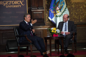 President Duque and Dean William M. Treanor.