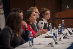 Photo of Law students speak to high schoolers