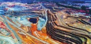 Ariel view of a large open-pit mine