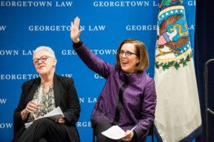 Oregon Governor Kate Brown and former EPA Administrator Gina McCarthy onstage.