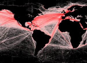 World map showing shipping lanes for trade