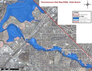 Flood map of Watts Branch in Washington, DC