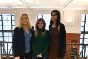 Staff Attorney Lindsey Barrett (L'17), Allegra Kauffman (L'19), Rachel Johns (L'19) and Bridget O'Connell (L'19)(not pictured) worked on a request to the Federal Trade Commission to investigate Google. The students participated in the Communications & Technology Law Clinic of Georgetown Law's Institute for Public Representation.