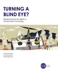 Cover of Turning a Blind Eye. The graphic shows a scale of justice with people and profits.