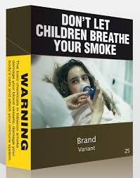 Sample of plain packaging of cigarettes with picture of young woman with oxygen mask