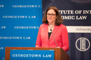 European Union Trade Commissioner Cecelia Malmström spoke at Georgetown Law's 40th Annual International Trade Update on March 7 to 8.