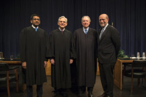 U.S. Court of Appeals for the D.C. Circuit Judge Sri Srinivasan, Chief Judge Merrick B. Garland (H'18), and Judge A. Raymond Randolph with Georgetown Law Dean William M. Treanor in Hart Auditorium on March 21.