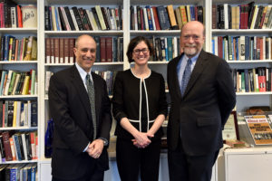 Georgetown Law Associate Dean John Mikhail, Boston College Law School Professor Mary Sarah Bilder, and Georgetown Law Dean William M. Treanor before the Thomas F. Ryan Lecture on March 6.
